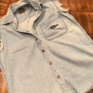 Harley Davidson jean button up sz small men's